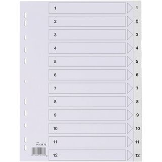 STAPLES® Register, PP, 0,12 mm, 1 - 12, Eurolochung, A4, 12 Blatt, weiß